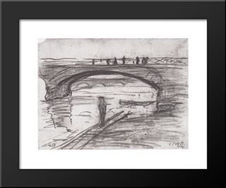 Bridges In Paris: Modern Black Framed Art Print by Paula Modersohn Becker