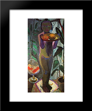 Children With Goldfish Bowl: Modern Black Framed Art Print by Paula Modersohn Becker