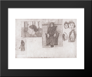 Composition Sketch For Seated Old: Modern Black Framed Art Print by Paula Modersohn Becker