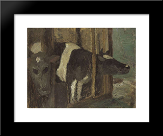 Cowshed: Modern Black Framed Art Print by Paula Modersohn Becker