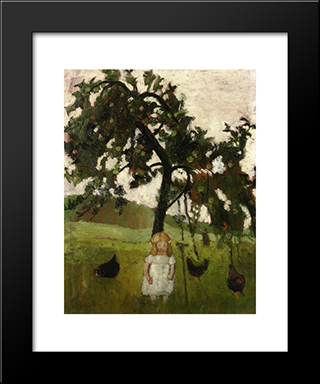 Elizabeth With Hens Under An Apple Tree: Modern Black Framed Art Print by Paula Modersohn Becker