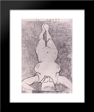 Female Nude On The Grass: Modern Black Framed Art Print by Paula Modersohn Becker
