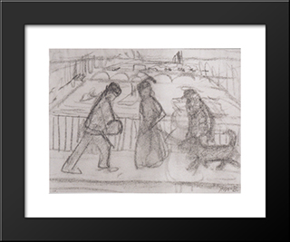 Figures With His Dog On A Bridge In Paris: Modern Black Framed Art Print by Paula Modersohn Becker