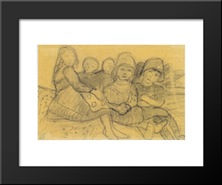 Five Children On The Edge Of The Meadow: Modern Black Framed Art Print by Paula Modersohn Becker
