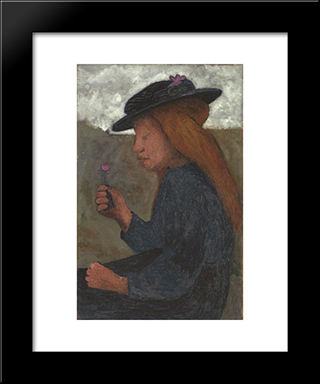 Girl With Black Hat: Modern Black Framed Art Print by Paula Modersohn Becker