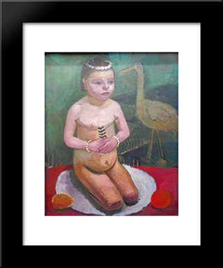 Girl With Stork: Modern Black Framed Art Print by Paula Modersohn Becker