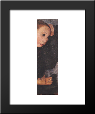 Girl With Wooden Horses: Modern Black Framed Art Print by Paula Modersohn Becker