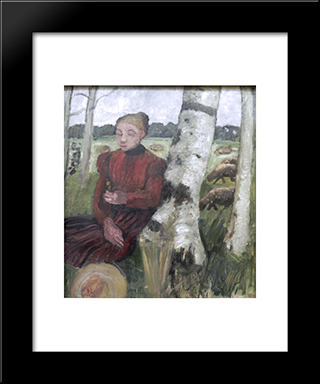 Girls At The Birch Tree And Flock Of Sheep In The Background: Modern Black Framed Art Print by Paula Modersohn Becker