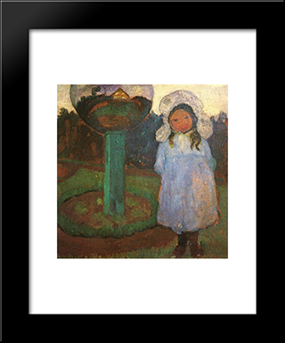 Girls In The Garden With Glass Ball (Elsbeth): Modern Black Framed Art Print by Paula Modersohn Becker