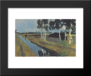 Gray Landscape With Marsh Channel: Modern Black Framed Art Print by Paula Modersohn Becker