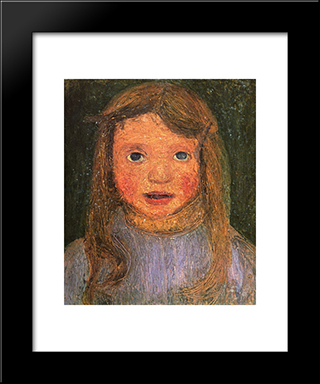 Head Of A Little Girl (Elsbeth): Modern Black Framed Art Print by Paula Modersohn Becker