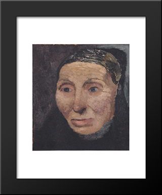 Head Of A Peasant Woman: Modern Black Framed Art Print by Paula Modersohn Becker