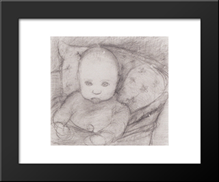 Infant In Seat: Modern Black Framed Art Print by Paula Modersohn Becker