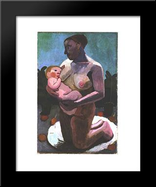 Kneeling Breast Feeding Mother: Modern Black Framed Art Print by Paula Modersohn Becker