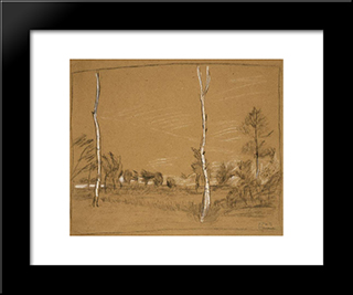 Landscape With Birch Trees: Modern Black Framed Art Print by Paula Modersohn Becker