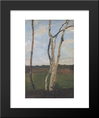 Landscape With Birch Trunks: Modern Black Framed Art Print by Paula Modersohn Becker
