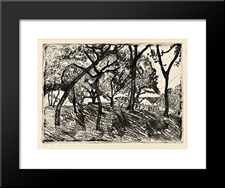 Landscape With Trees: Modern Black Framed Art Print by Paula Modersohn Becker