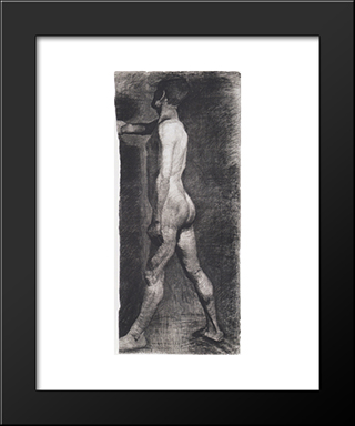 Male Nude Standing: Modern Black Framed Art Print by Paula Modersohn Becker