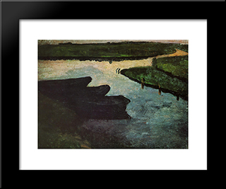 Marsh Channel With Peat Barges: Modern Black Framed Art Print by Paula Modersohn Becker