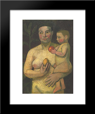 Mother And Child: Modern Black Framed Art Print by Paula Modersohn Becker