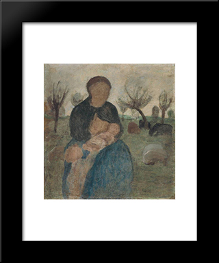 Mother With Baby At Her Breast, And Child In Landscape: Modern Black Framed Art Print by Paula Modersohn Becker