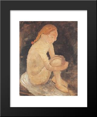 Nude Girl: Modern Black Framed Art Print by Paula Modersohn Becker