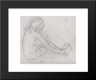 Nude Girl Sitting On The Floor: Modern Black Framed Art Print by Paula Modersohn Becker