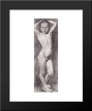 Nude Girl Standing, Arms Folded Behind His Head: Modern Black Framed Art Print by Paula Modersohn Becker
