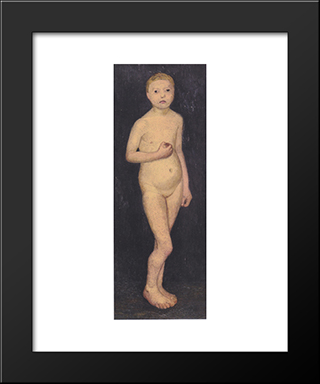 Nude Girl Standing: Modern Black Framed Art Print by Paula Modersohn Becker