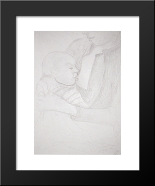 Nursing Mother And Child: Modern Black Framed Art Print by Paula Modersohn Becker