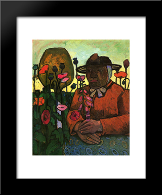 Old Woman In The Garden: Modern Black Framed Art Print by Paula Modersohn Becker