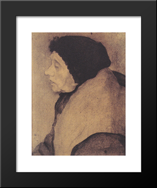 Old Woman With A Bonnet In Profile To The Left: Modern Black Framed Art Print by Paula Modersohn Becker