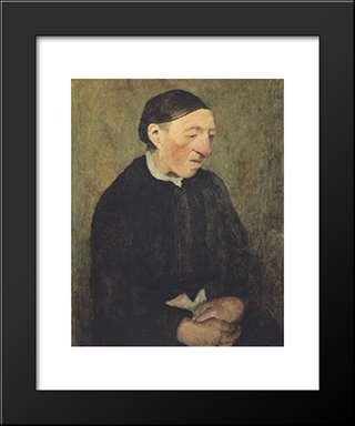 Old Woman With Handkerchief: Modern Black Framed Art Print by Paula Modersohn Becker