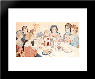 A Family Portrait: Modern Black Framed Art Print by Pavel Filonov