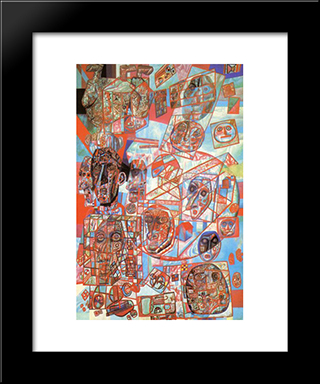 A Man In The World: Modern Black Framed Art Print by Pavel Filonov
