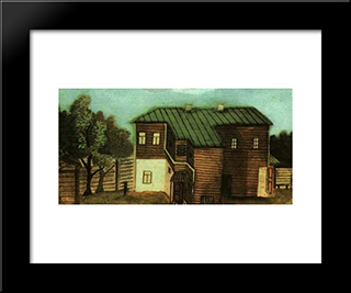 A Small House In Moscow: Modern Black Framed Art Print by Pavel Filonov