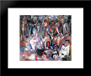 At The Table: Modern Black Framed Art Print by Pavel Filonov