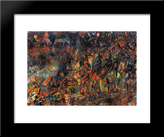 Bourgeois In A Carriage: Modern Black Framed Art Print by Pavel Filonov