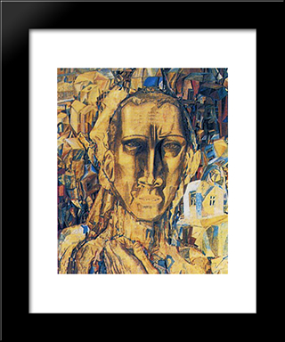 Defeater Of The City: Modern Black Framed Art Print by Pavel Filonov
