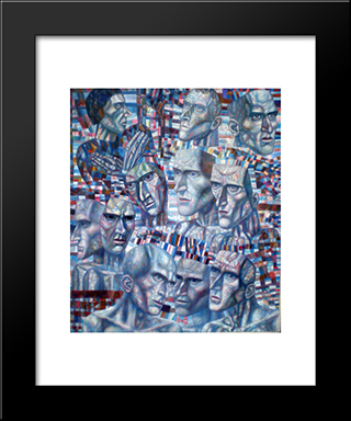 Eleven Heads: Modern Black Framed Art Print by Pavel Filonov