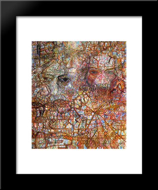 Faces: Modern Black Framed Art Print by Pavel Filonov