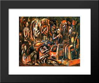 Feast Of Kings: Modern Black Framed Art Print by Pavel Filonov