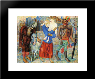 Flight To Egypt: Modern Black Framed Art Print by Pavel Filonov