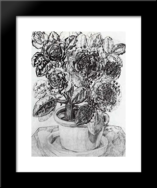 Flowers: Modern Black Framed Art Print by Pavel Filonov