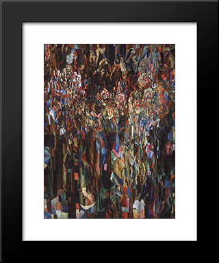 Flowers Of The Universal Flowering: Modern Black Framed Art Print by Pavel Filonov
