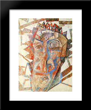 Head: Modern Black Framed Art Print by Pavel Filonov