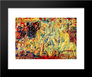 Horsemen: Modern Black Framed Art Print by Pavel Filonov