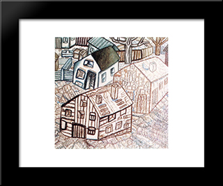 Houses: Modern Black Framed Art Print by Pavel Filonov