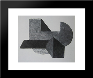 Space Construction Vi: Modern Black Framed Art Print by Peter Laszlo Peri