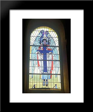 Angel With The Cross ( The Triptych The Annunciation): Modern Black Framed Art Print by Petro Kholodny (Elder)